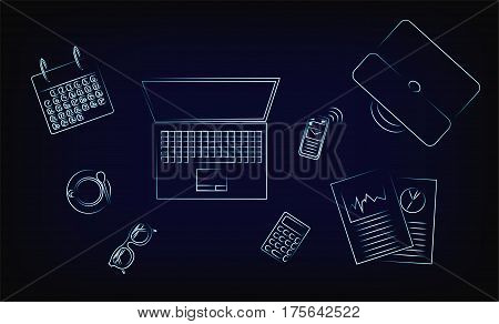 Office Objects On A Desk From Above, Vector