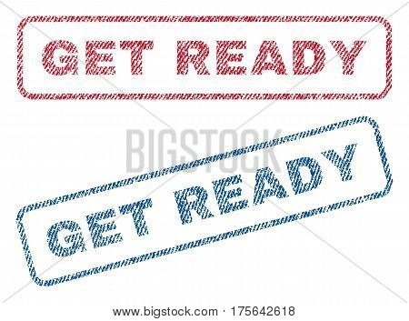 Get Ready text textile seal stamp watermarks. Blue, red fabric vectorized texture. Vector caption inside rounded rectangular banner. Rubber sign with fiber textile structure.