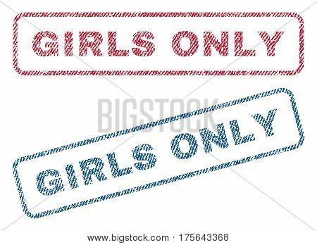 Girls Only text textile seal stamp watermarks. Blue, red fabric vectorized texture. Vector tag inside rounded rectangular shape. Rubber sticker with fiber textile structure.