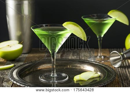 Homemade Green Alcoholic Appletini Cocktail