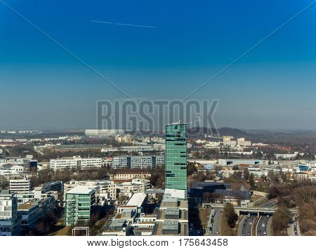 Aerial view to Allianz arena in Munich Germany