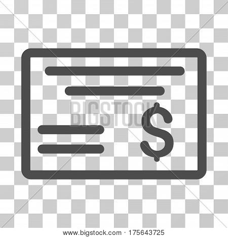 Dollar Cheque icon. Vector illustration style is flat iconic symbol gray color transparent background. Designed for web and software interfaces.