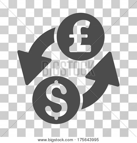 Dollar Pound Exchange icon. Vector illustration style is flat iconic symbol gray color transparent background. Designed for web and software interfaces.