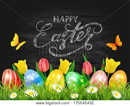 Easter eggs in grass on black chalkboard background with tulips, butterflies and ladybugs, lettering Happy Easter, illustration.