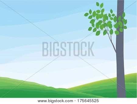 Green Landscape with trees, clouds, flowers - Illustration
