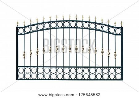 Arched metal fence. Isolated on white background.