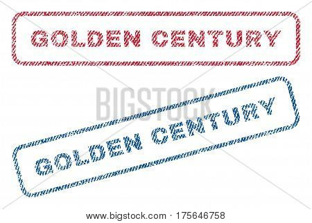 Golden Century text textile seal stamp watermarks. Blue, red fabric vectorized texture. Vector tag inside rounded rectangular banner. Rubber sign with fiber textile structure.