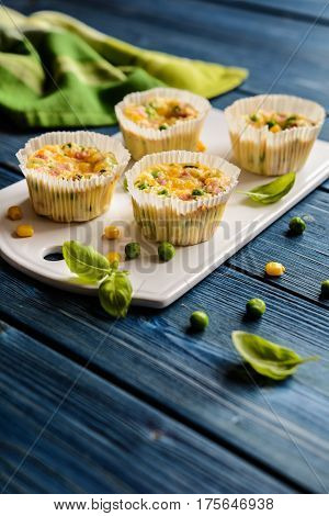 Mini Frittatas With Ham, Pea, Cheese And Corn