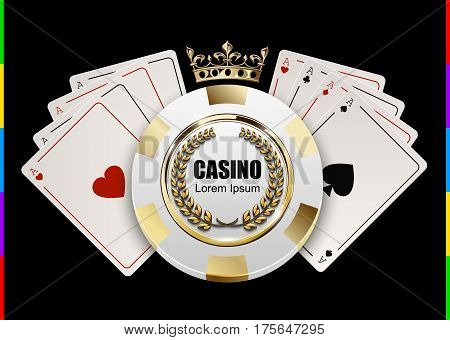 VIP poker luxury white and golden chip in golden crown with ace card vector casino logo concept. Royal poker club emblem with laurel wreath isolated on black background