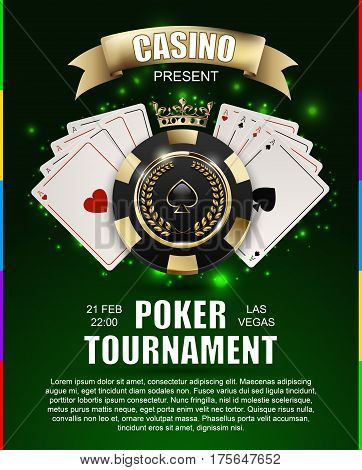 VIP poker luxury black and golden chip golden crown with ace card vector casino poster concept. Royal poker club tournament banner with laurel wreath ribbon spade light effect on green background