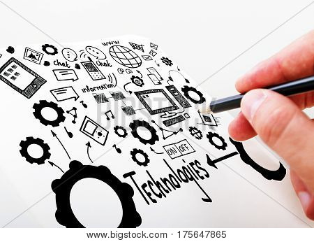 Close up of male hand drawing creative sketch on white background. Social media technologies concept
