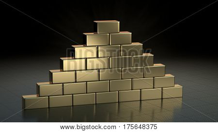 Stack of gold brick bars on shiny metal floor, in storage. 3D render.