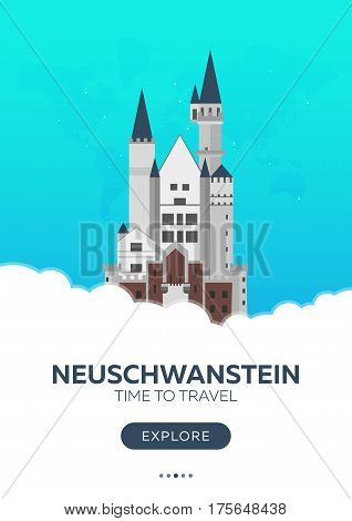 Germany. Neuschwanstein. Time To Travel. Travel Poster. Vector Flat Illustration.