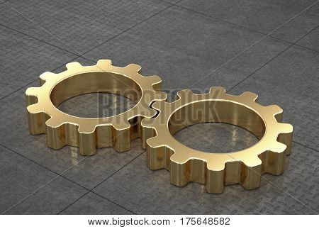 Gold gears, connected, on reflective metal tiled floor. 3D render.