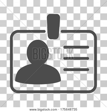 Personal Badge icon. Vector illustration style is flat iconic symbol, gray color, transparent background. Designed for web and software interfaces.
