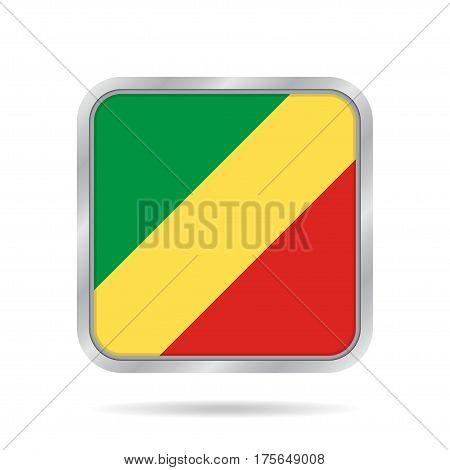 National flag - Republic of the Congo West Congo. Shiny metallic gray square button with shadow.