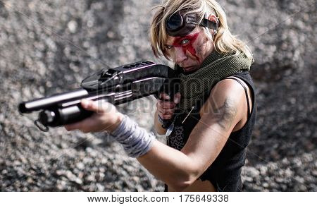 terrorist woman shooting a gun. rebel are attacking
