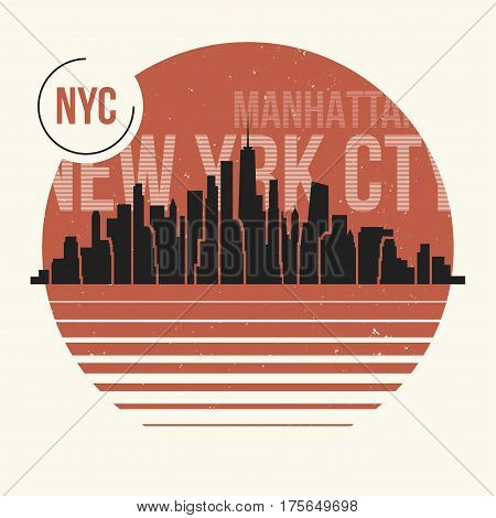 New York City Graphic, T-shirt Design, Tee Print, Typography, Emblem.