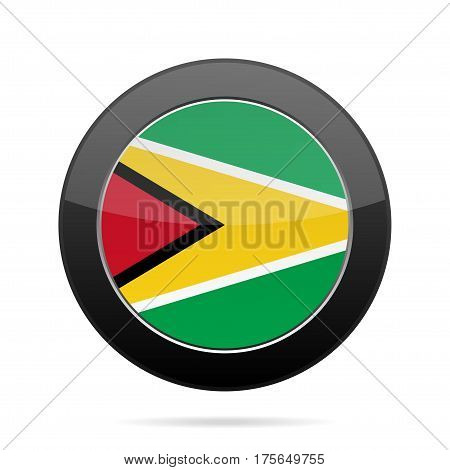 National flag of Guyana. Shiny black round button with shadow.