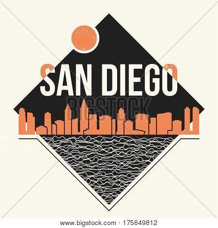 San Diego Graphic, T-shirt Design, Tee Print, Typography, Emblem.