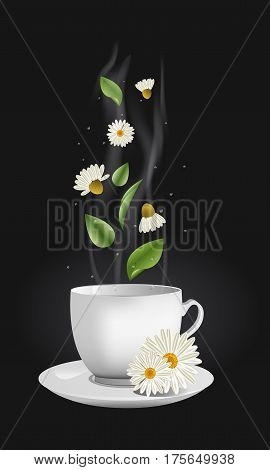 Vector realistic chamomile tea. White china cup with a stream flowers leaves and drops moving up and floating