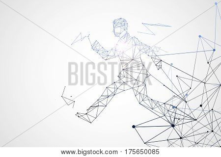 Abstract running polygonal man on white background. 3D Rendering