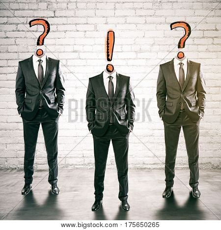 Three question and exclamation mark headed businessmen in brick inteiror. FAQ concept. 3D Rendering