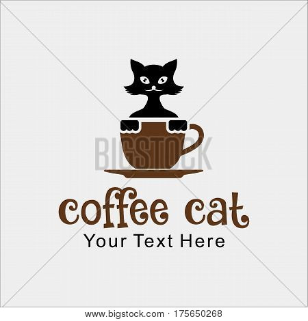 coffe cat shoop vector illustration in smile face