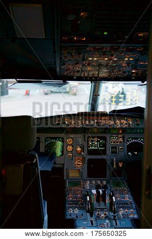 FRANKFURT, GERMANY - JAN 20th, 2017: Airbus A320 cockpit interior. The Airbus A320 family consists of short- to medium-range, narrow-body, commercial passenger twin-engine jet airliners.