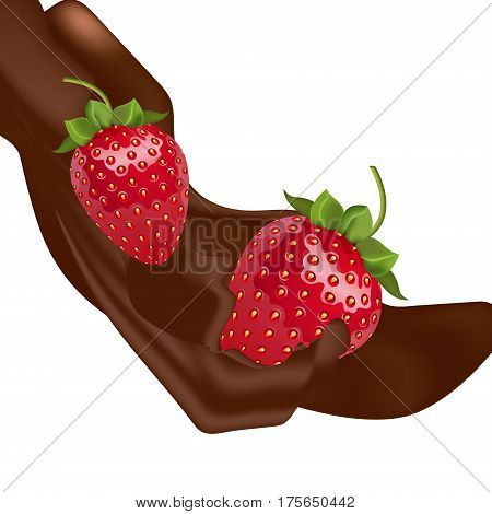 Vector melted chocolate pouring down and strawberries falling down. Isolated objects on white background