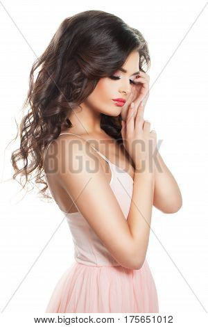 Gentle Brunette Woman Isolated on White Background