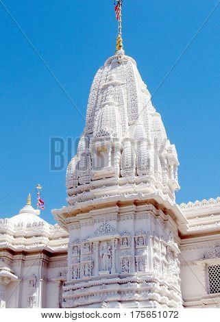 Spire of Hindu temple Shri Swaminarayan Mandir in Toronto Canada