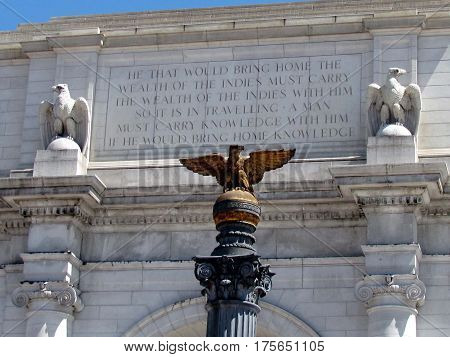 Sculptures of eagle on a pediment of the building of Union Station in Washington DC USA