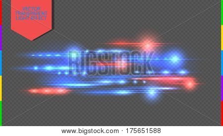 Vector red and blue special effect. Glowing streaks on transparent background. Beautiful glow light flare and spark. Luminous abstract sparkling lined night disco club