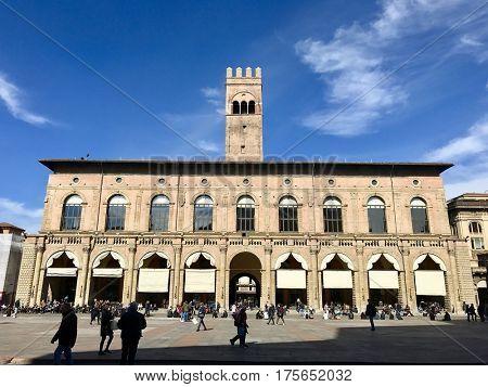 BOLOGNA - MARCH 7, 2017: Palazzo del Podestà in Piazza Maggiore, Bologna, Italy. A 13th-century public building with Renaissance-style facade, arcade and a whispering gallery.