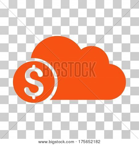 Banking Cloud icon. Vector illustration style is flat iconic symbol, orange color, transparent background. Designed for web and software interfaces.