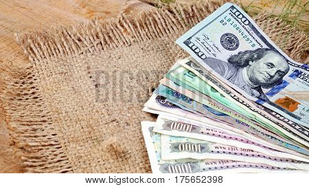 US dollars, Korean Won, Euro bills and some money bills and banknotes. Currency foreign exchange. Business and Financial or money management for investments.