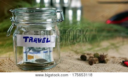 US dollars, Korean Won, Euro bills and some money bills and banknotes. Currency foreign exchange. Savings for travelling.