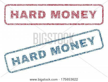 Hard Money text textile seal stamp watermarks. Blue, red fabric vectorized texture. Vector tag inside rounded rectangular shape. Rubber sign with fiber textile structure.
