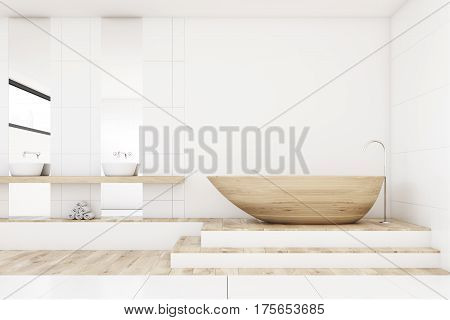 Bathroom With Two Mirrors, Wood, Front