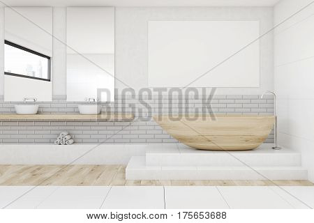 Bathroom With Two Mirrors And Poster