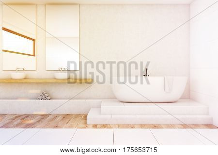 Bathroom With Two Mirrors, White, Toned