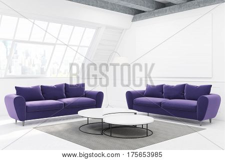 Two Purple Sofas And A Table, Side View