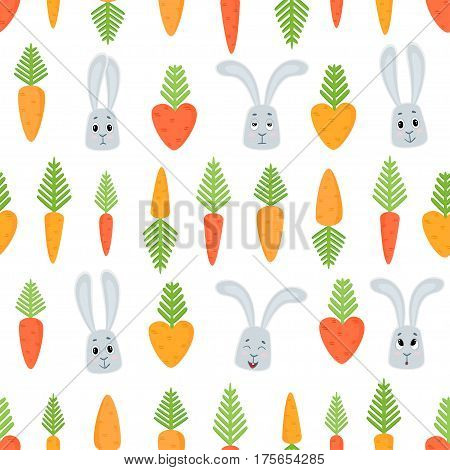 Vector seamless pattern with cartoon rabbits and carrots. Carrots for Easter Bunny.