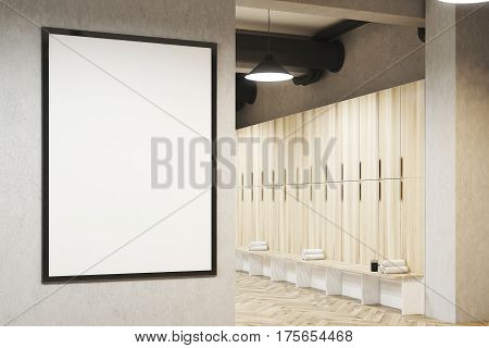 Locker room with framed poster hanging on a light gray wall a row of wooden storage lockers near the wall and a bench with rolled towels on it. 3d rendering. Mock up.