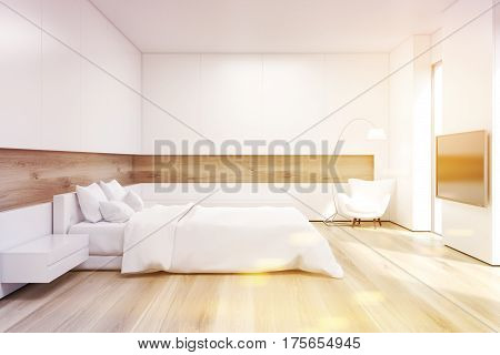 Side View Of Bedroom With Tv Set, Toned
