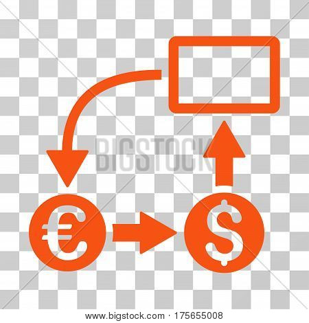 Cashflow Euro Exchange icon. Vector illustration style is flat iconic symbol, orange color, transparent background. Designed for web and software interfaces.