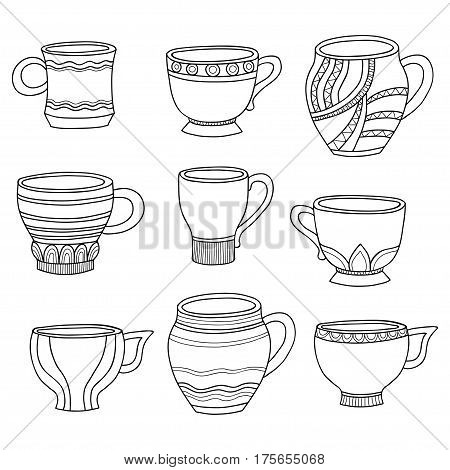 Vector doodle of cartoon cups for tea or coffee isolated on white background.