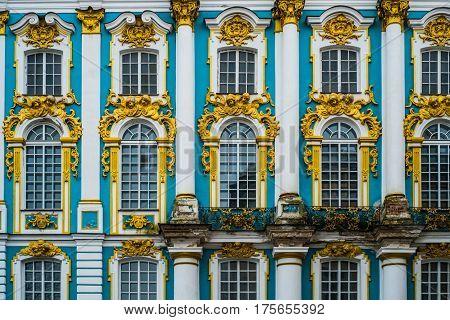 Windows of the palace in Tsarscoe selo Pushkin Saint Petersburg