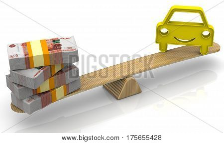 Evaluation of the cost of a car. Money (stack of packs of 5000 Russian rubles bills tied with a ribbon) and the symbol of a vehicle weighed in the balance. Financial concept. Isolated. 3D Illustration